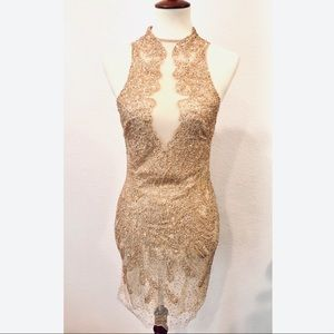 Beaded Nude Illusion Mini Dress